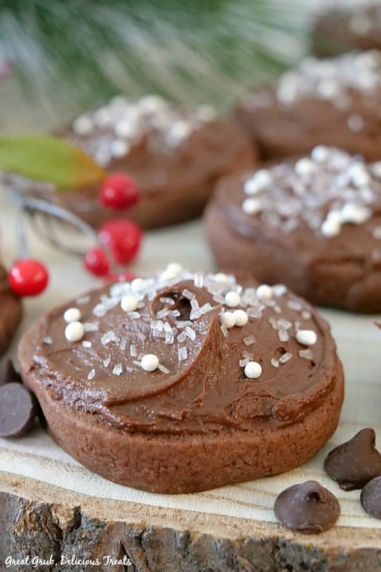 Chocolate Frosted Sugar Cookies are a family favorite cookie recipe, with chocolate frosting, chocolate chips and sprinkles.