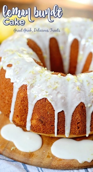 Lemon Bundt Cake is full of lemony flavor, drizzled with lemon icing and topped with lemon zest.