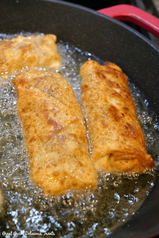 Philly Cheesesteak Egg Rolls are fried to a golden brown