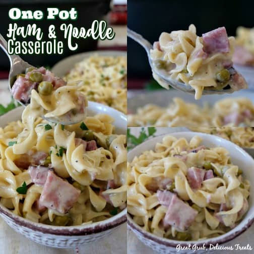 One Pot Ham and Noodle Casserole is not only easy and delicious, but it's made in one pot and takes about 30 minutes.
