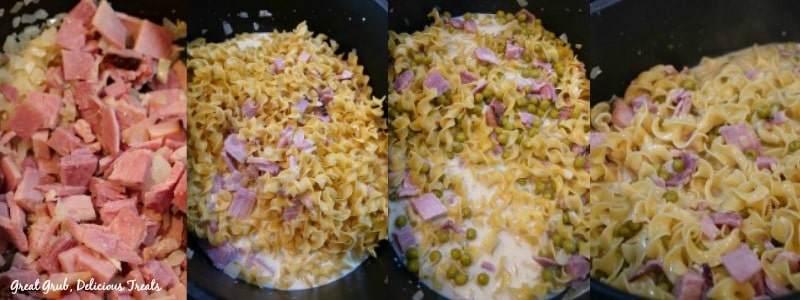 One Pot Ham and Noodle Casserole - in process shots