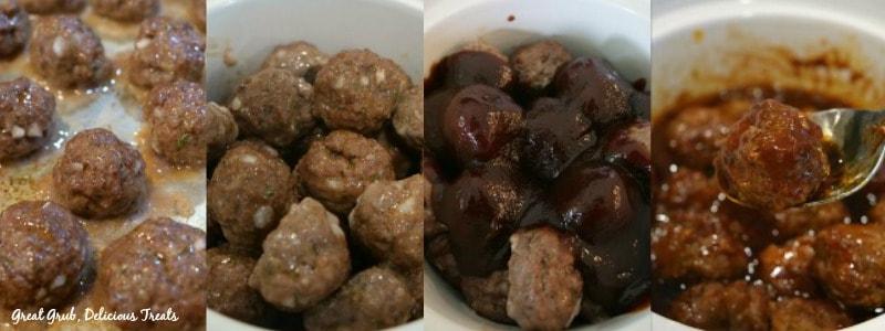 Crock Pot Barbecue Meatballs - In Process shots