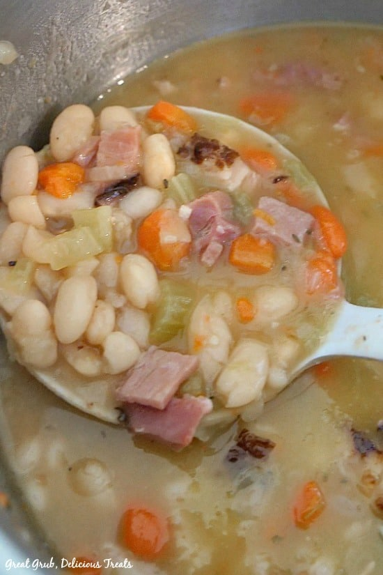 Ham and Bean Soup is loaded with delicious beans, leftover ham and vegetables.