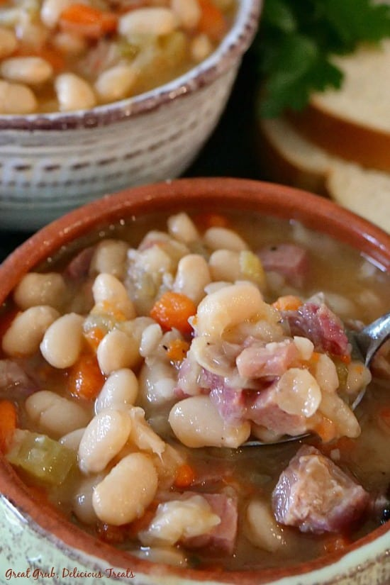 Ham and Bean Soup is loaded with delicious beans, leftover ham, vegetables and perfectly seasoned.