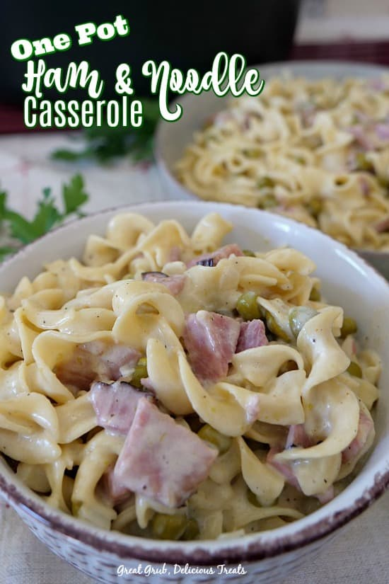 One Pot Ham and Noodle Casserole is loaded with leftover ham, egg noodles, a delicious sauce and even peas are added.