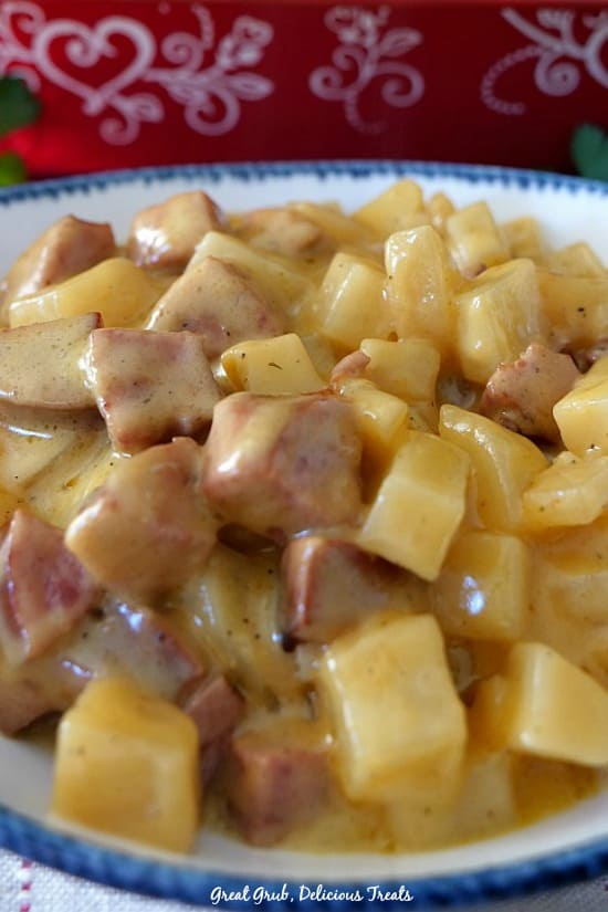 Kielbasa Sausage Cheesy Potato Casserole full of sausage and potatoes in a cheese sauce.