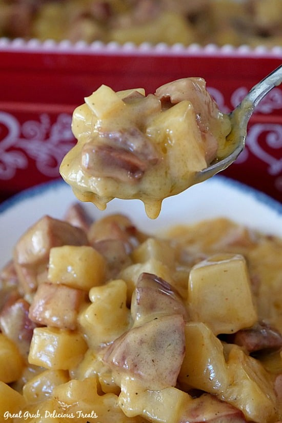 Kielbasa Sausage Cheesy Potato Casserole is made with kielbasa sausage, diced potatoes in a creamy cheese sauce.