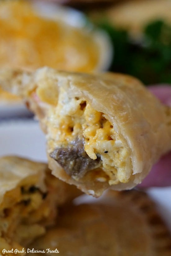 Rib Eye Breakfast Empanadas are loaded with beef, scrambled eggs, cheese in a flaky crust.