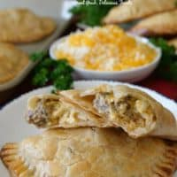 Rib Eye Breakfast Empanadas are filled with rib eye roast, eggs, cheese, seasonings, and more.