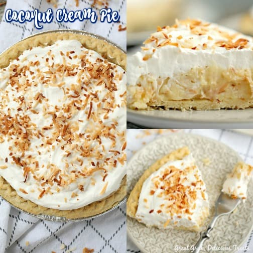Coconut Cream Pie is a delicious and creamy coconut pie with toasted coconut throughout and topped with cool whip and toasted coconut.