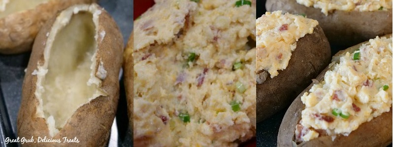 Loaded Twice Baked Potatoes - In process shots