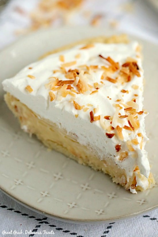 Coconut Cream Pie is an easy pie recipe full of a creamy coconut filling, topped with cool whip and toasted coconut.