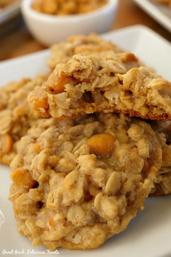 Soft Chewy Oatmeal Scotchies are a soft and chewy, delicious oatmeal cookie recipe with butterscotch morsels.