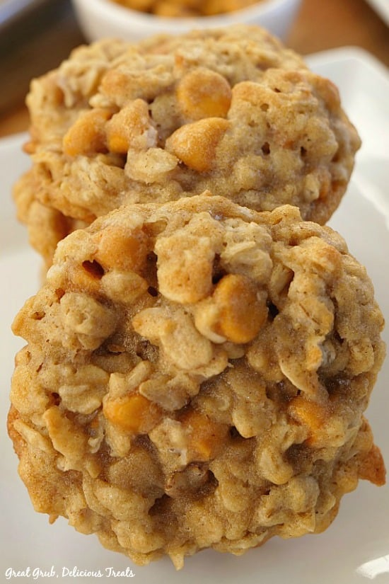 Soft Chewy Oatmeal Scotchies are a delicious soft and chewy oatmeal cookie with butterscotch morsels.