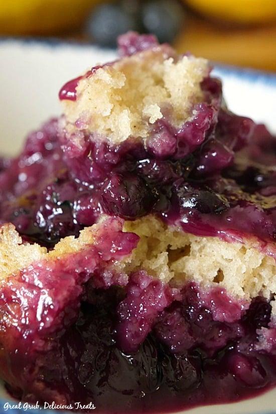 Blueberry Lemon Pudding Cake has a blueberry lemon pudding filling and a light and airy cake topping.