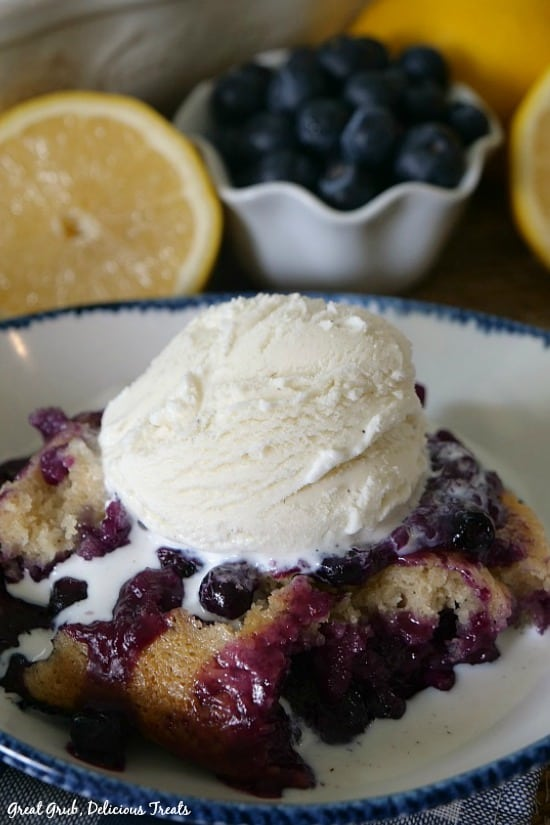 Blueberry Lemon Pudding Cake is loaded with blueberries, lemon and is delicious served with vanilla ice cream.