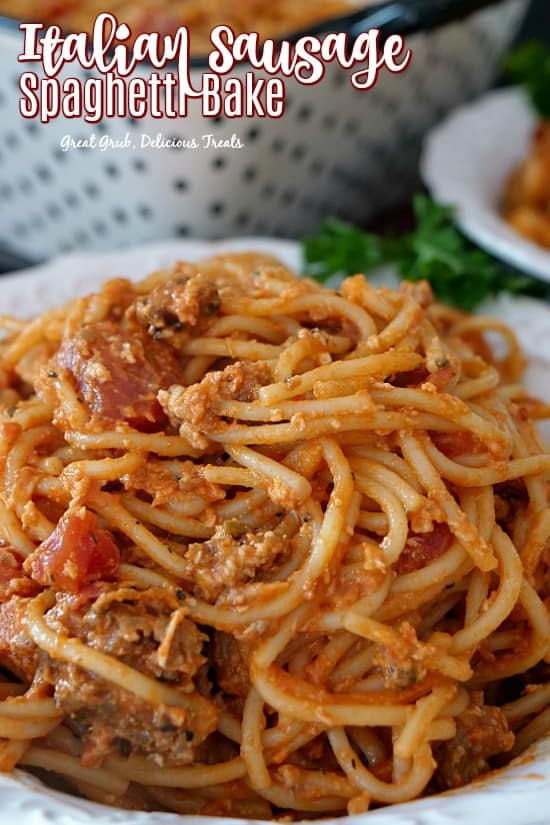 Italian Sausage Spaghetti Bake - A white bowl filled with spaghetti noodles, Italian sausage, tomatoes, cream cheese, mozzarella cheese, seasonings.