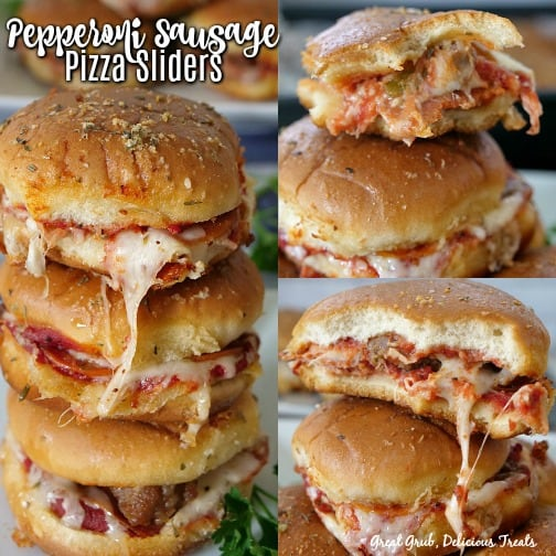 Pepperoni Sausage Pizza Sliders stuffed with pepperoni, sausage, cheese and then baked.