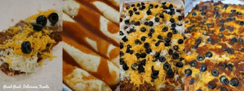 Cheesy Ground Beef Enchiladas - In Process Shots