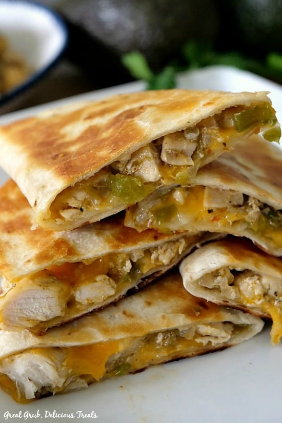 Cheesy Chicken Quesadillas are loaded with chicken, two different types of cheese and fried to perfection.