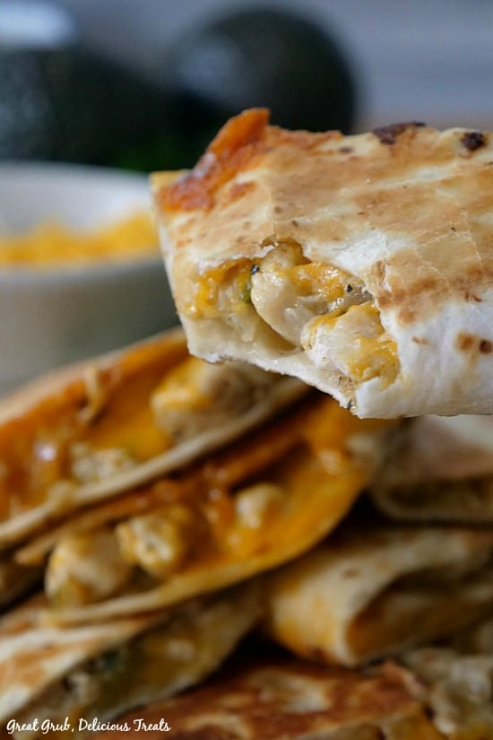 Cheesy Chicken Quesadillas are loaded with chicken, cheese, onions, diced green chilies and fried to perfection.