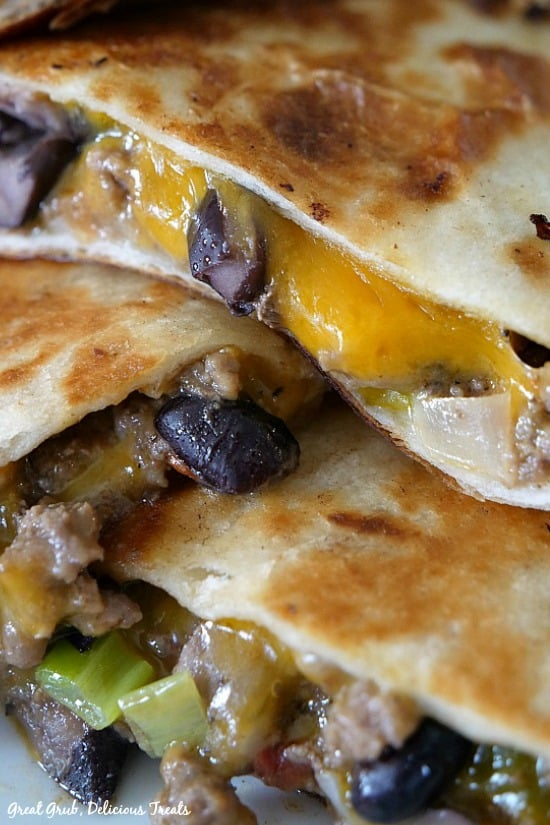 Ground Beef Quesadillas are loaded with cheese, ground beef, black beans then fried to golden brown.
