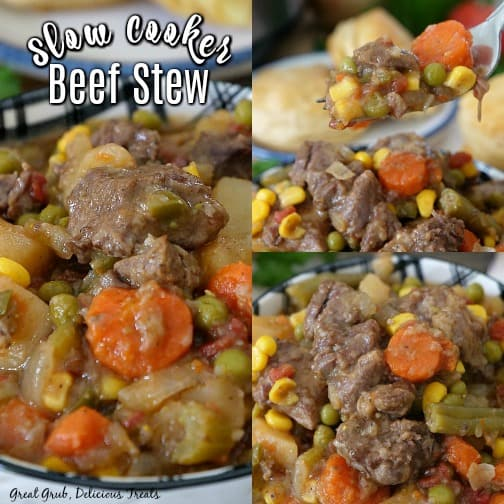Slow Cooker Beef Stew is hearty and delicious, packed full of vegetables and tender beef.