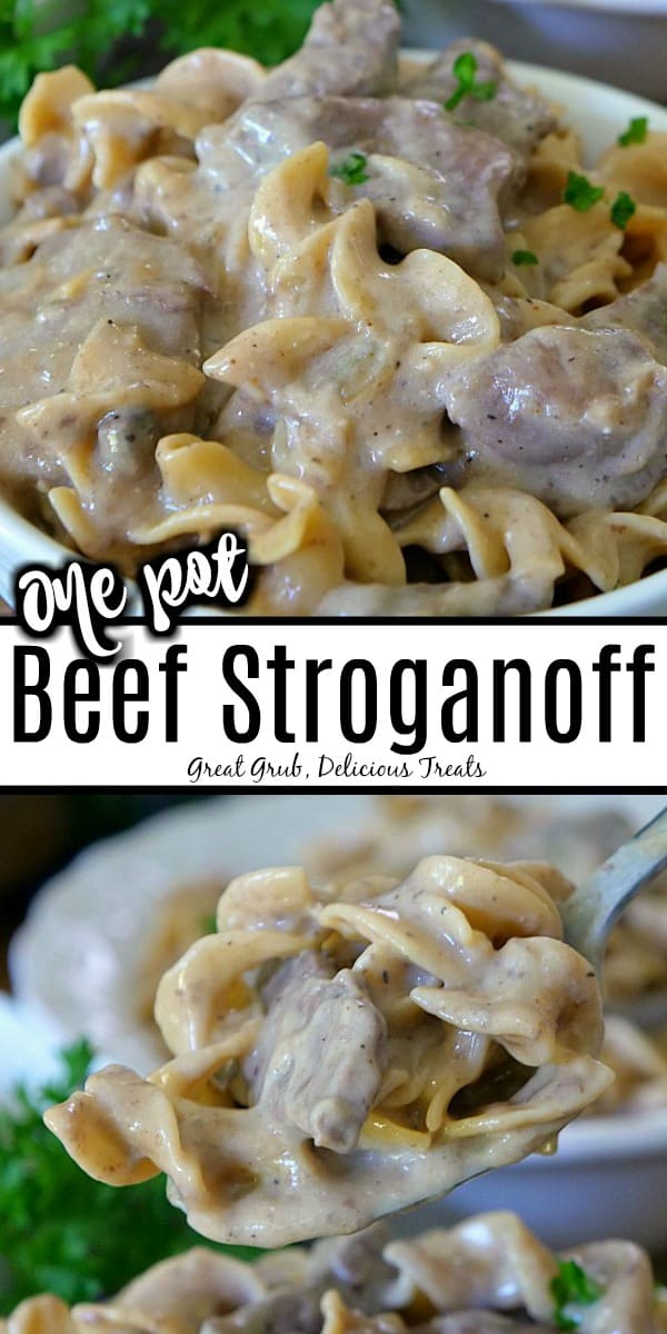 One Pot Beef Stroganoff is loaded with beef, noodles and a creamy sauce mixed with sour cream.