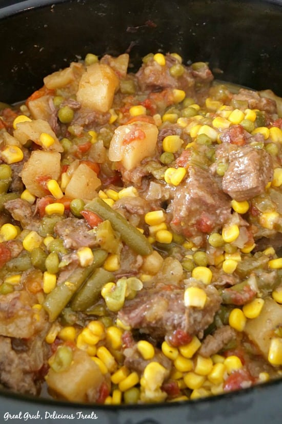 Slow Cooker Beef Stew shows a picture of the meat and vegetables in the slow cooker.