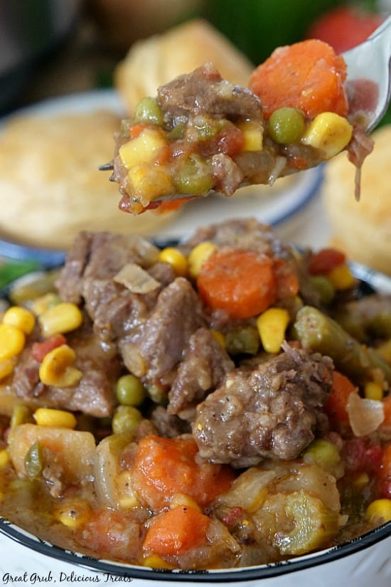 Slow Cooker Beef Stew is a photo of a hearty beef stew packed full of vegetables with a fork full.