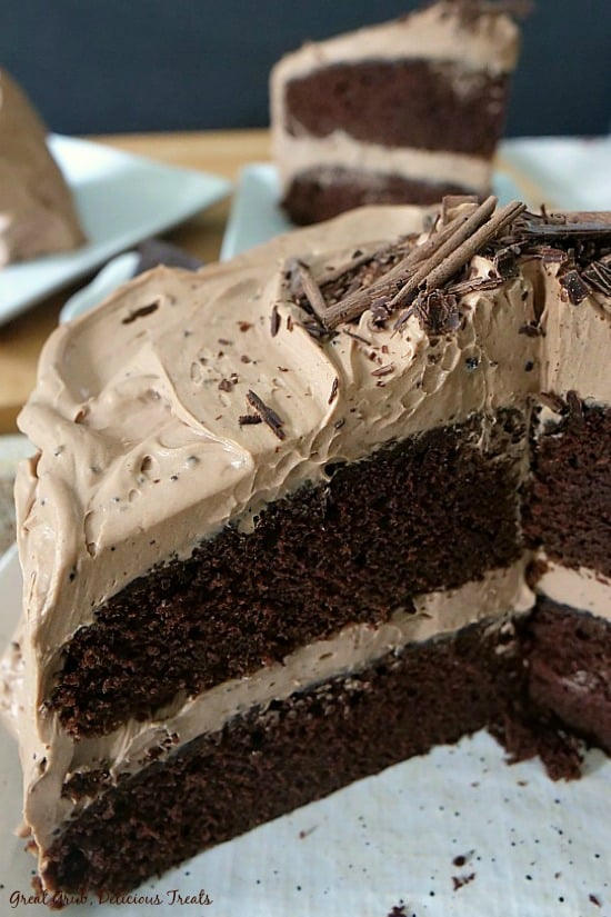 Chocolate Cake with Mocha Mascarpone Frosting is a two layer cake frosted with mascarpone frosting with chocolate curls on top.