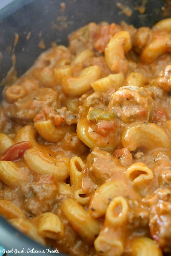 Cheesy Italian Sausage Pasta in a pan showing the finished one pot dinner.