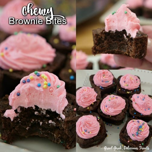 Chewy Brownie Bites - a collage with three pictures of chocolate brownies with pink frosting.