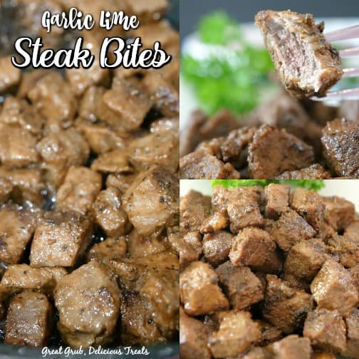 Garlic Lime Steak Bites - This is a collage pic with steak bites, and a bite of steak on a fork.