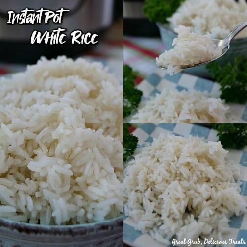 Instant Pot White Rice - a collage picture with a bowl of white rice, a spoonful of white rice, and a plate of white rice.