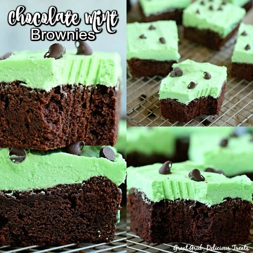Chocolate Mint Brownies - a collage of 3 pictures of chocolate brownies with mint buttercream on top as well as mini chocolate chips.