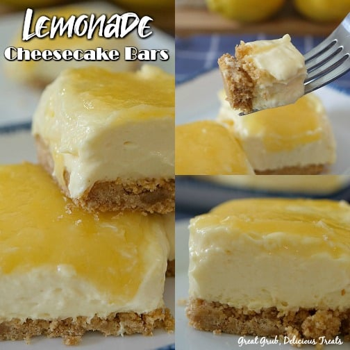 Lemonade Cheesecake Bars - a collage with 3 pictures, one with a bite of lemon cheesecake on a fork, one with a cheesecake bar sitting on top of another one and then a single cheesecake bar.