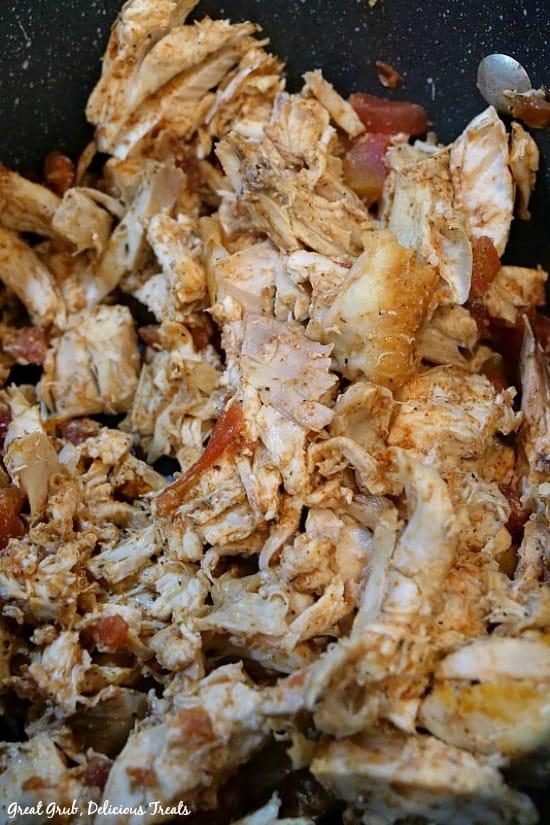 Southwest Chicken Pasta Salad - a pan full of shredded rotisserie chicken.