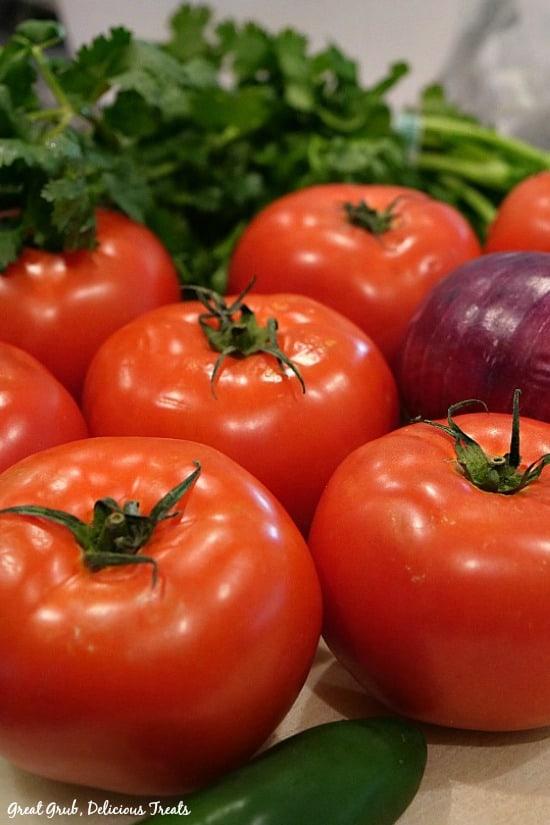 Pico de Gallo - picture of 7 tomatoes, a red onion, jalapeno pepper and cilantro.