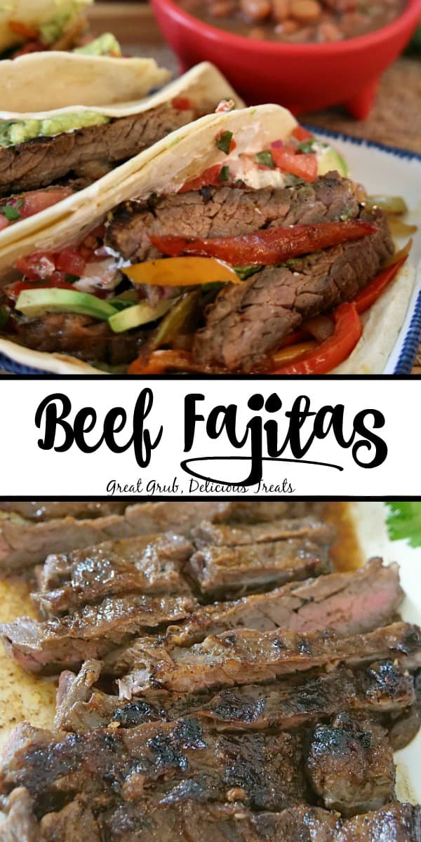 Beef Fajitas - collage picture with fajitas on a white plate in the top photo and sliced skirt steak in the bottom photo.