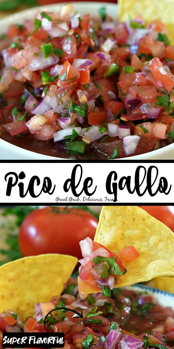 Pico de Gallo - Two photos with Pico de Gallo in a white bowl and the second picture shows the chunky salsa on a chip with tomatoes in the background.