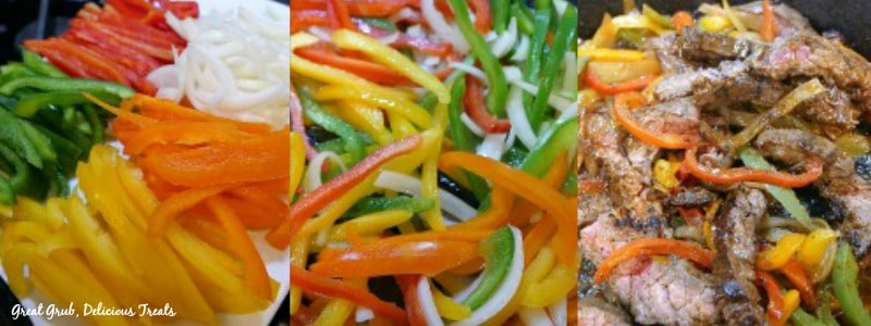 In process shots showing 4 different colored peppers, cut up and then added to the steak.