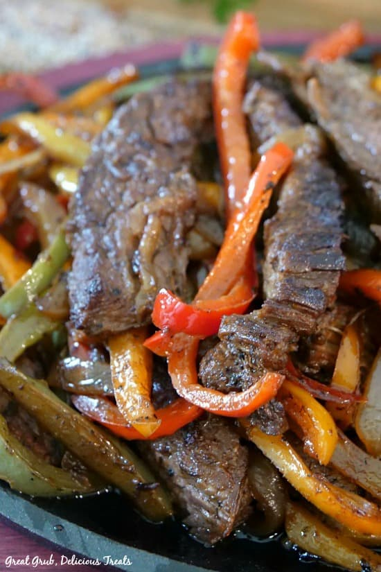 Beef Fajitas - steak strips mixed with peppers and onions.