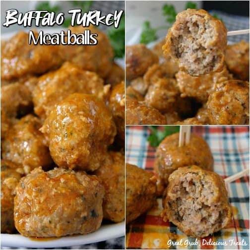 A 3 photo collage of buffalo turkey meatballs on a plaid placemat with parsley in the background for decoration.