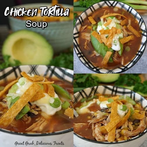 A collage of 3 pictures of a bowl of chicken soup topped with tortilla strips in a white and black bowl.
