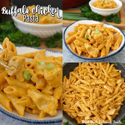 A three picture collage showing Buffalo Chicken Pasta in a white bowl with blue trim.