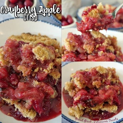 A collage picture with 3 different photos of Cranberry Apple Crisp in a white bowl with blue trim.