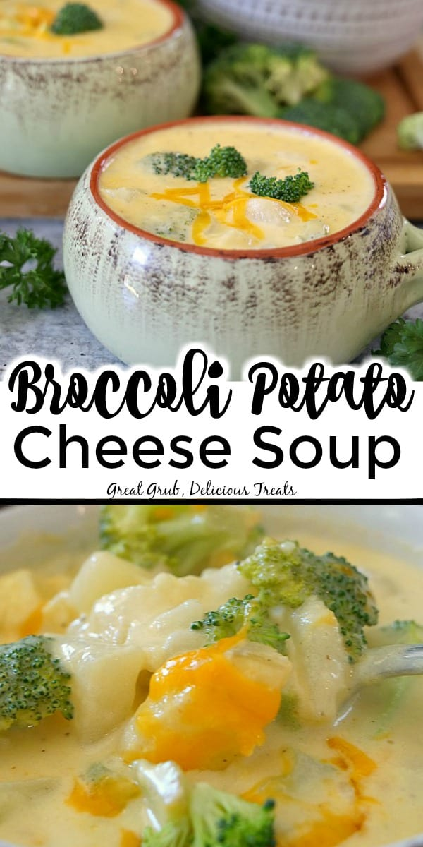 Broccoli Potato Cheese Soup - a photo with two pics, the top shows a bowl of soup with broccoli and the bottom picture is a close of of the potatoes, broccoli and cheese on a spoon.