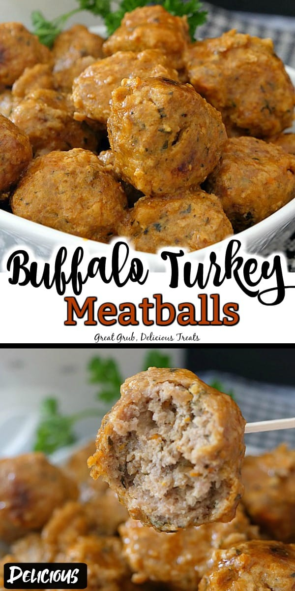 2 picture collage with buffalo turkey meatballs in a small white bowl with parsley in the background and a black and white checkered place mat.