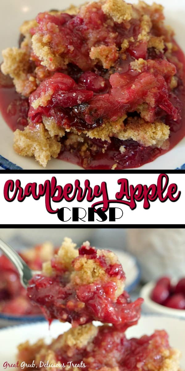 Two pictures of cranberry apple crisp, one in a white bowl and the other with the crisp on a spoon with the crisp in the background.